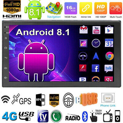 "Android 8.1 Quad Core 7"" GPS Navi WiFi BT 2DIN Car Stereo MP5 Player FM Radio"