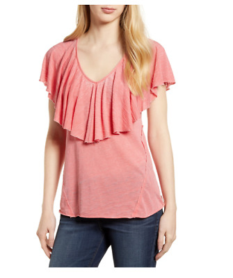 NWT Lucky Brand Top Burnout Ruffle Tee V-neck Coral Orange Size Large New