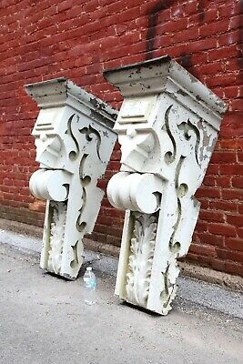 Antique Corbels Zinc Large building finials White Kitchen Farmhouse decor VTG