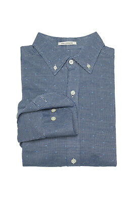 GANT Men/'s Denim Blue Melange Printed Poplin Shirt 333078 $125 NWT