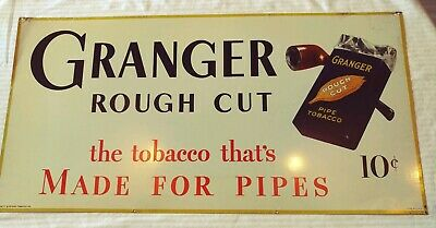 Vintage Granger Rough Cut Pipe Tobacco Tin Litho Sign Liggett & Myers Tobacco Co