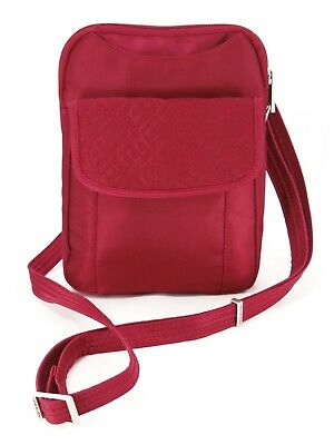 Travelon RFID Anti Theft Quilted Slim Pouch Crossbody Bag Travel Purse M $42 EXC