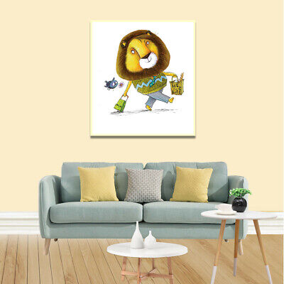Lion Shopping Poster Canvas Art Painting Living Room Picture Kid Home Wall Decor