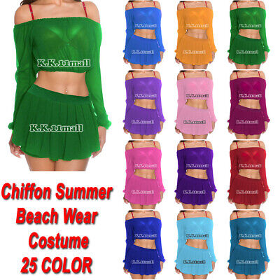 Chiffon Beach wear summer cotumes Sexy Girls Skirts and Long top Sets C45