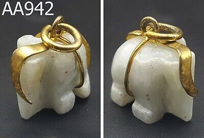 Carved White Jade Elephant Small Feng Shui Statue Amulet Pendant #aa942g