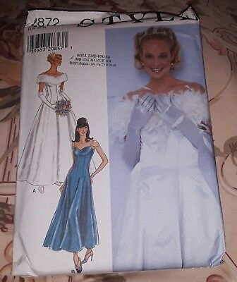STYLE 2872 Misses Wedding Dress Bridal Gown Pattern All Szs 8-18 NEW UNCUT