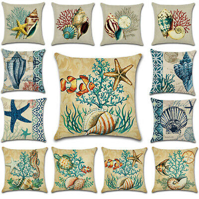 "18"" Sea Snail Cushion Cover Waist Throw Pillow Case Home Sofa Decor Out/Indoor"