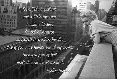 Marilyn Monroe Quote Portrait Stretched Art Silk Poster 12x18 24x36