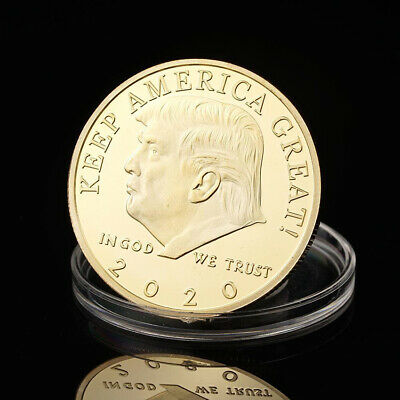 2020 President Donald Trump Gold Plated Eagle Commemorative Coin Collection Hot