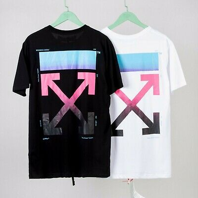 89559e7f1b0f OFF- WHITE VIRGIL Alboh Black Gradient Rainbow Cotton Unisex Tee ...