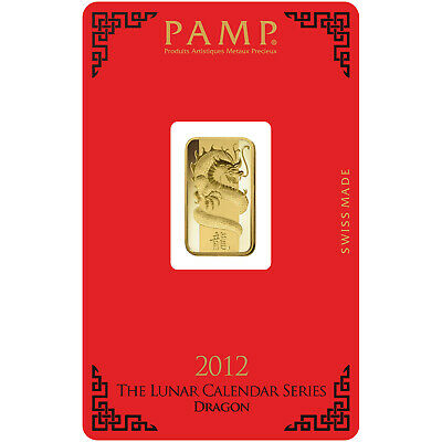 PAMP 5 Gram Lunar Dragon Gold Bar 999.9