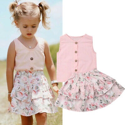 AU 2PCS Toddler Kids Baby Girl Summer Floral Tops Ruffle Dress Outfits Sunsuit