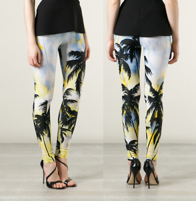 FAUSTO PUGLISI Stretchy Jersey Tropical Print Leggings Trouser US 6 /EU 40 $650