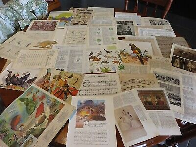 50 Vintage papers,page dictionary music paper, ephemera collage craft no 14
