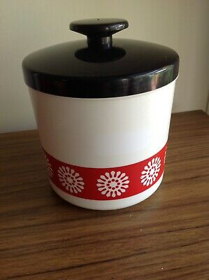 Retro Collectable Vintage British Plastic Cannister Container Red White Daisy