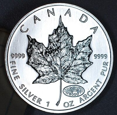 "2000 Silver Maple Leaf - 1 oz. .9999 Fine Silver - 5 Dollars - ""Fireworks"""