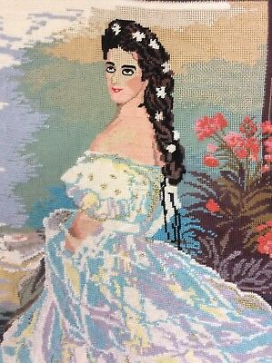 Partly Worked Tapestry - Beautiful Crinoline Lady With Some Wool Thread