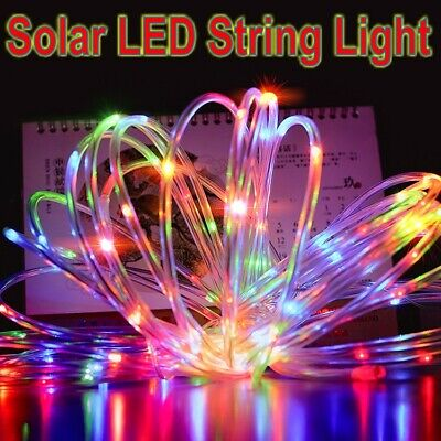 12M 100 LED Solar Powered Rope Tube String Fairy Lights Outdoor Garden Xmas Lamp