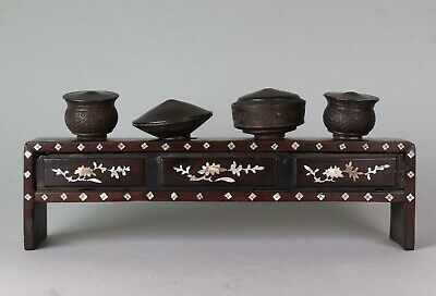 Late 19th Century Chinese Yixing Bowls on MOP Wood Stand  - Opium War Period