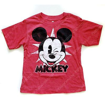 Disney Winking Mickey Mouse Toddler Boy Red short sleeve Tee T-shirt