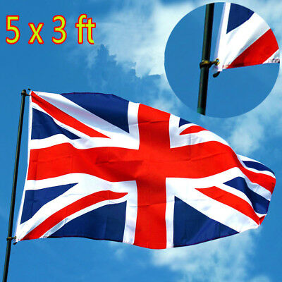 5 x 3FT Large Union Jack Flag Great Britain Fabric Polyester British GB Sport HD