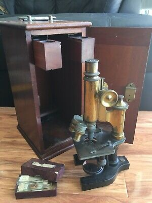 Antique Microscope By Bausch & Lomb Solid Brass In Case