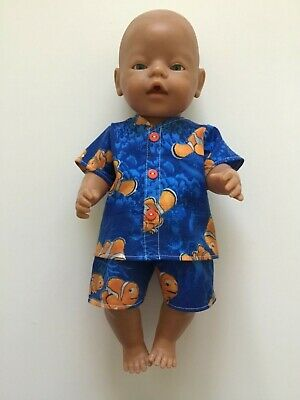 """DOLLS CLOTHES to fit 43cm (17"""") BABY BORN *Finding Nemo~Boy~Summer Pyjamas*"""