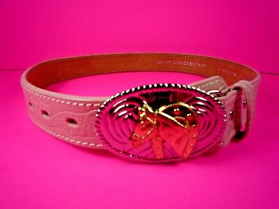Nocona Belt Co. Cowgirl's Pink Leather Horse Buckle Girl's Belt