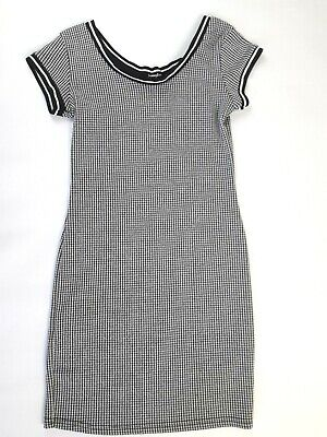 French Black & White check party dress ladies size small 60's style (B638)