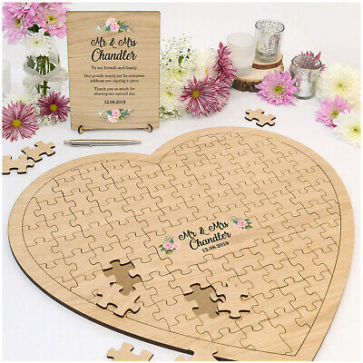PERSONALISED Rustic Wedding Heart Jigsaw Puzzle Guest Book Alternative with Sign