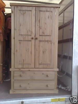 Pine Furniture Aylesbury 2 Drawer Wardrobe Rustic Light Oak Wax No Flat Packs