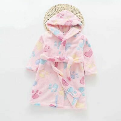 Girls Size 3-8 Coral Fleece Dressing Gown Robe Hooded Pink Paw Print