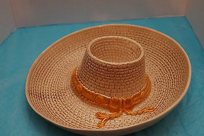 Vintage 1986 Whittier Pottery Chip And Dip Salsa Sombrero Straw Serving Dish Hat