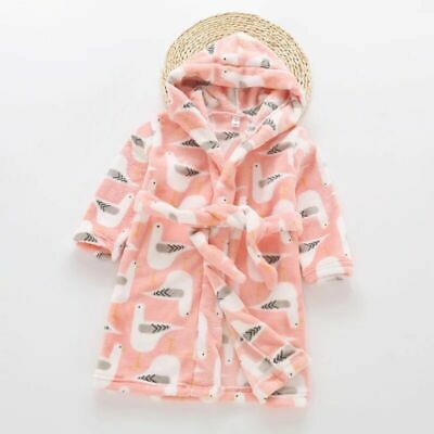Girls Size 3-8 Coral Fleece Dressing Gown Robe Hooded Pink Bird Print