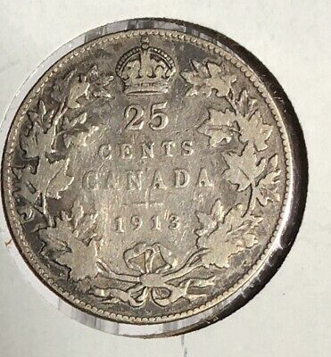 1913 Canada 25¢ Cent  Silver Coin  King George