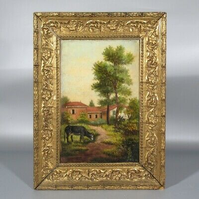 Antique French Oil Painting on Canvas Landscape Cow Farm South of France Framed