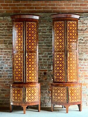 Rare 18th Century Dutch Corner Cabinets Pair Inlaid Marquetry Monumental