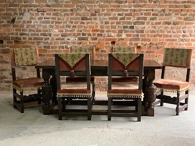 Antique Refectory Dining Table & Six Dining Chairs 17th Century Style Solid Oak