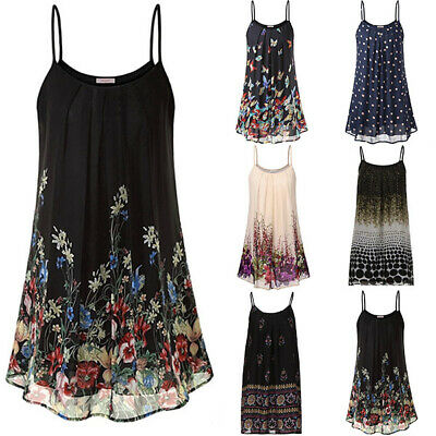 Plus Size Womens Cami Sleeveless Swing Vest Top Ladies Strappy Printed Dress UK