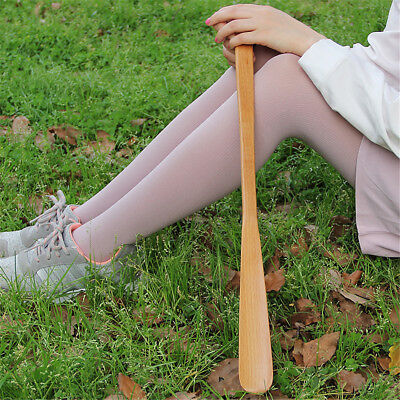 9styles Delicate Natural Wooden Craft Shoe Horn Long Handle Shoe Lifter  FE