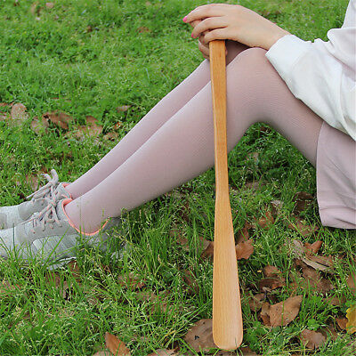 9styles Delicate Natural Wooden Craft Shoe Horn Long Handle Shoe Lifter HV
