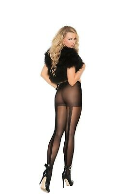 3 Pair Black Sheer Pantyhose w/ woven lace back seam #1134 Elegant Moments