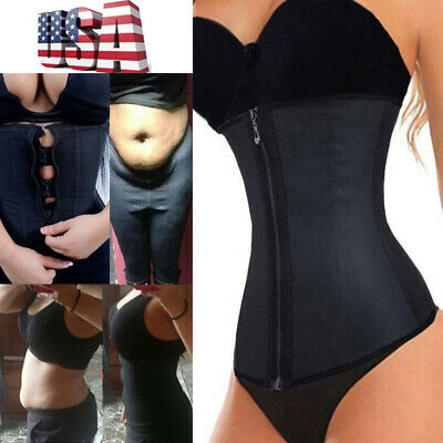 Fajas Colombianas Zip Latex Waist Trainer Weight Loss Cincher Body Corset Shaper