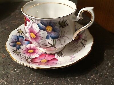 Royal Albert Flower of the Month COSMOS Bone China TEA CUP & SAUCER England
