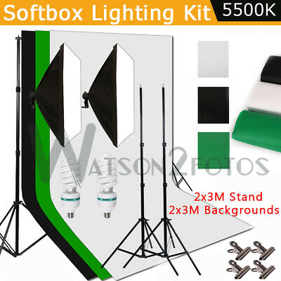 Photography Studio Backdrop Softbox Lightings Kit Video Continuous Light Set USA