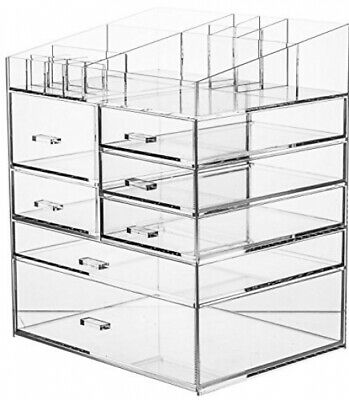 Cq acrylic 6 Tier Extra Large Clear Acrylic Makeup 6 and 7 Drawers
