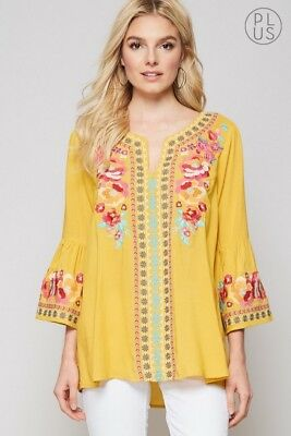 380472f8ba3 Andree By Unit Marigold Bell Sleeve Embroidered Tunic PLUS (also in SML)  beauty