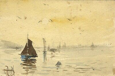 George Dunkerton Hiscox, Seascape with Boats - 19th-century watercolour painting