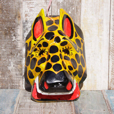 Mexican Wooden Folk Art Animal Mask - Wild Cat Spots