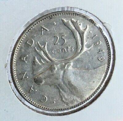 1949  Canada 25¢ Cent  Silver Coin  King George  Vi  -  Vf-Ef